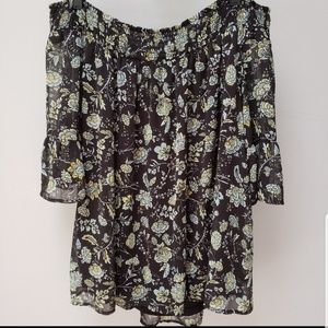 Torrid floral off shoulder blouse top black 1x 2x